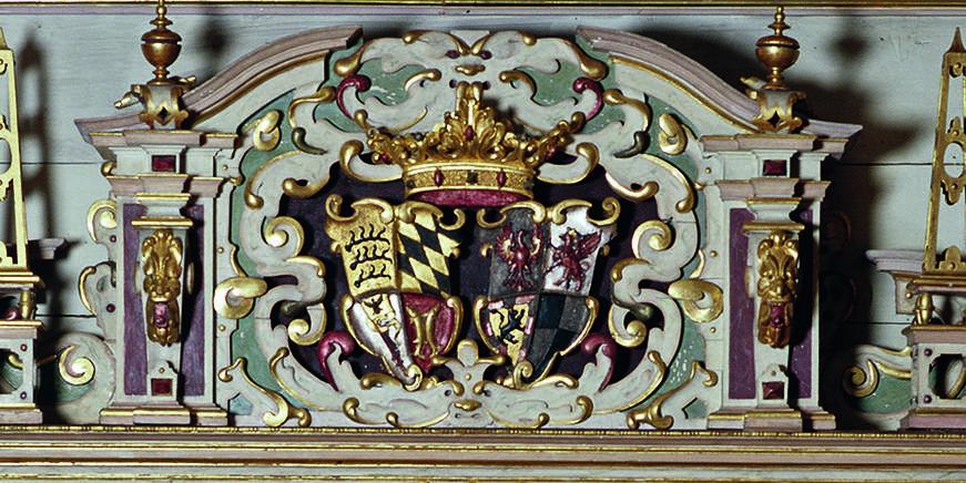 Portal im Goldenen Saal von Schloss Urach;  Foto: Staatliche Schlösser und Gärten Baden-Württemberg, Sven Grenzemann