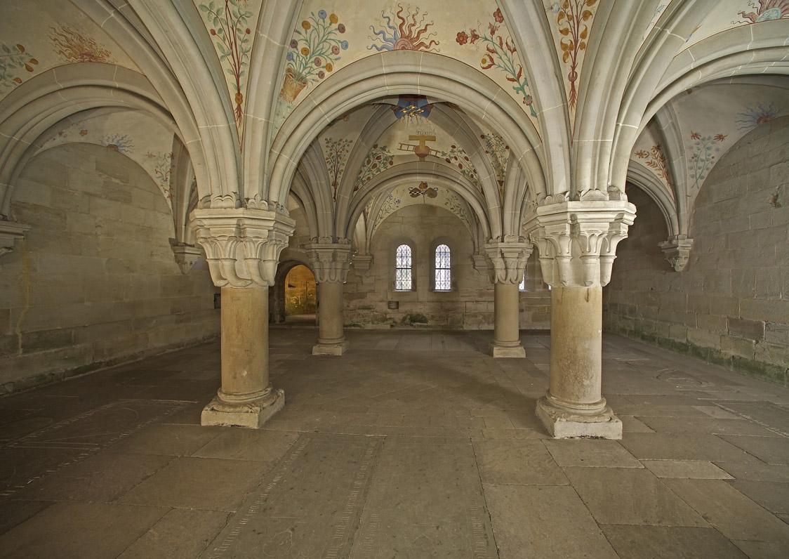 Late Romanesque vault in the chapter house of Bebenhausen Monastery and Palace. Image: Staatliche Schlösser und Gärten Baden-Württemberg, Arnim Weischer