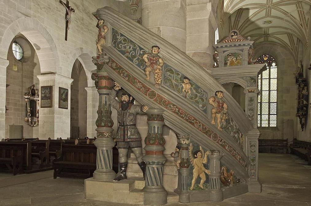 The pulpit in the church of Bebenhausen Monastery; photo: Staatliche Schlösser und Gärten Baden-Württemberg, Arnim Weischer