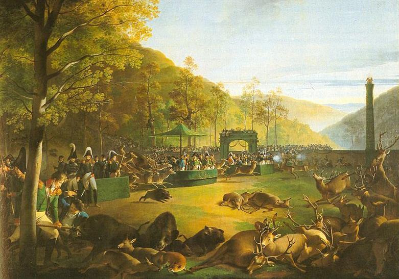 Festinjagd, Gemälde von Johann Baptist Seele, 1812; heute im Residenzschloss Ludwigsburg; Foto: Württembergische Landesbibliothek