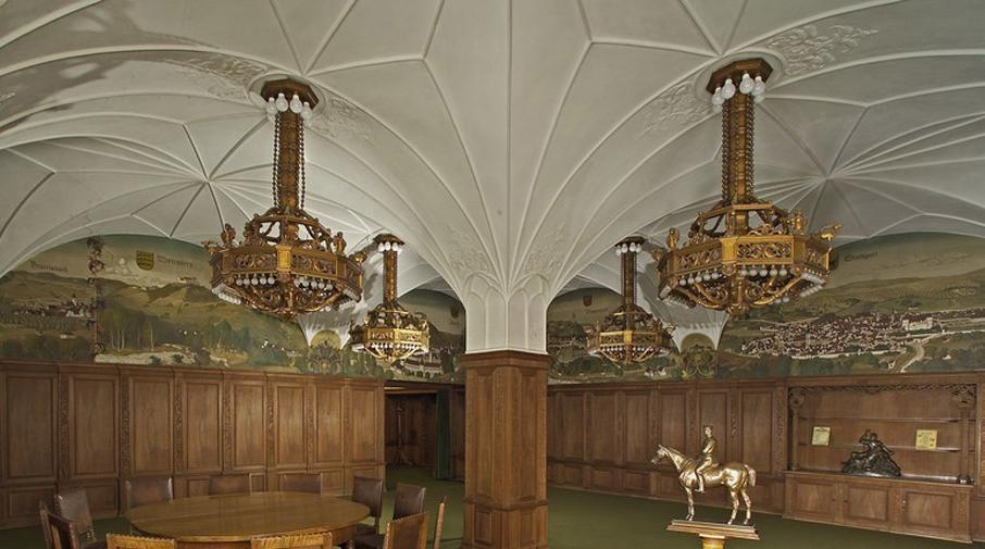 Wandmalereien von Julius Mössel im Grünen Saal von Schloss Bebenhausen; Foto: Landesmedienzentrum Baden-Württemberg, Arnim Weischer