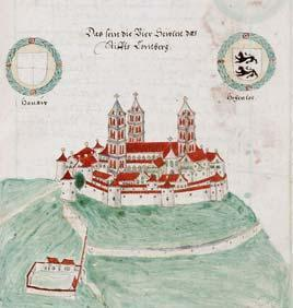 Großcomburg Monastery at the end of the 16th century. Image: Wikipedia, in the public domain