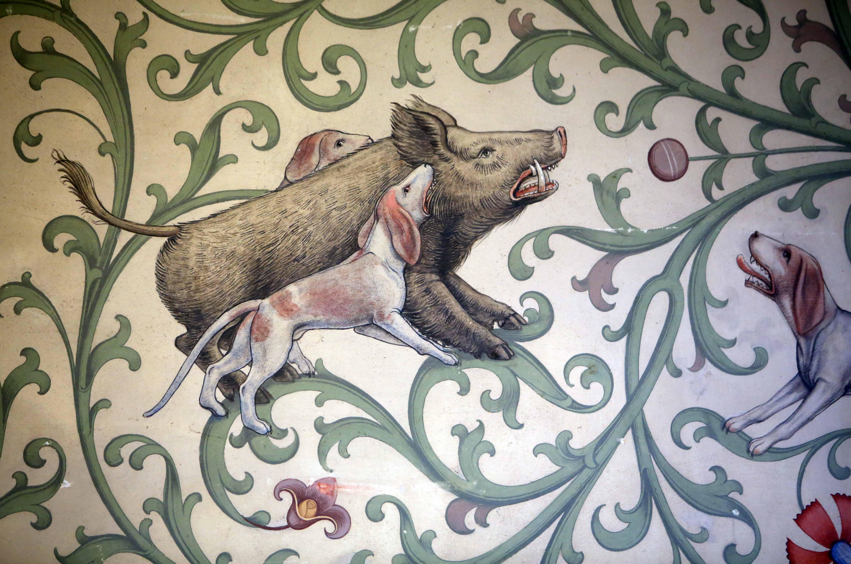 Wildschweinjagd, Detail Wandmalerei Winterrefektorium Kloster Bebenhausen; Foto: Staatliche Schlösser und Gärten Baden-Württemberg, Thomas Kiehl