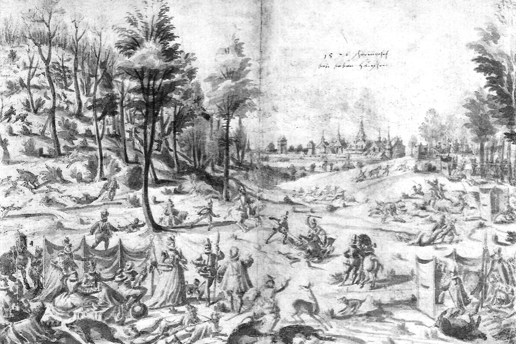 Wild boar hunt at Bebenhausen, washed pen and ink drawing, 1576. Image: Wikipedia, in the public domain