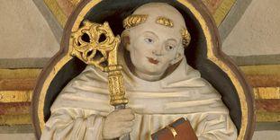 Saint Bernhard von Clairvaux, keystone in the cloister of Maulbronn Monastery