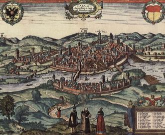 Printed view of city of Schwäbisch Hall, circa 1580. Image: Wikipedia, in the public domain