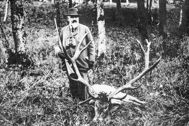König Wilhelm II. von Württemberg auf der Jagd, Fotografie um 1910; Foto: Landesmedienzentrum Baden-Württemberg, Otto Feucht
