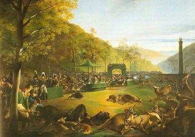 Ceremonial hunt, painting by Johann Baptist Seele, 1812; currently in Ludwigsburg Residential Palace. Image: Württembergische Landesbibliothek