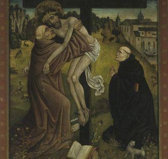 Christ vision by Bernhard von Clairvaux, panel painting circa 1485 in Bebenhausen Monastery. Image: Staatliche Schlösser und Gärten Baden-Württemberg, Arnim Weischer