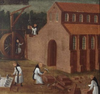Cistercians building a monastery church, image on the founders panel of Maulbronn Monastery. Image: Landesmedienzentrum Baden-Württemberg, Arnim Weischer
