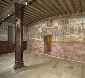 Auszug der Calatrava-Ritter gegen die Mauren, spätes 19. Jahrhundert, Historienbild an der Nordseite im Winterrefektorium von Kloster Bebenhausen