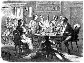 """Spinnstube, Illustration aus """"Das festliche Jahr in Sitten, Gebräuchen und Festen der germanischen Völker"""", 1863"""