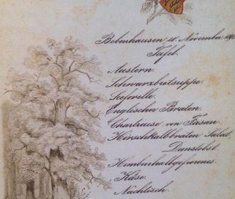 Menu from Bebenhausen Palace, full meal, November 28, 1895. Image: Hauptstaatsarchiv Stuttgart