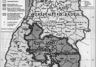 Karte von Südwestdeutschland 1945 bis 1952; Scan: Landesmedienzentrum Baden-Württemberg, Urheber unbekannt
