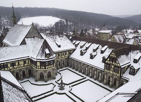 Bebenhausen Monastery, exterior view of the monastery in winter