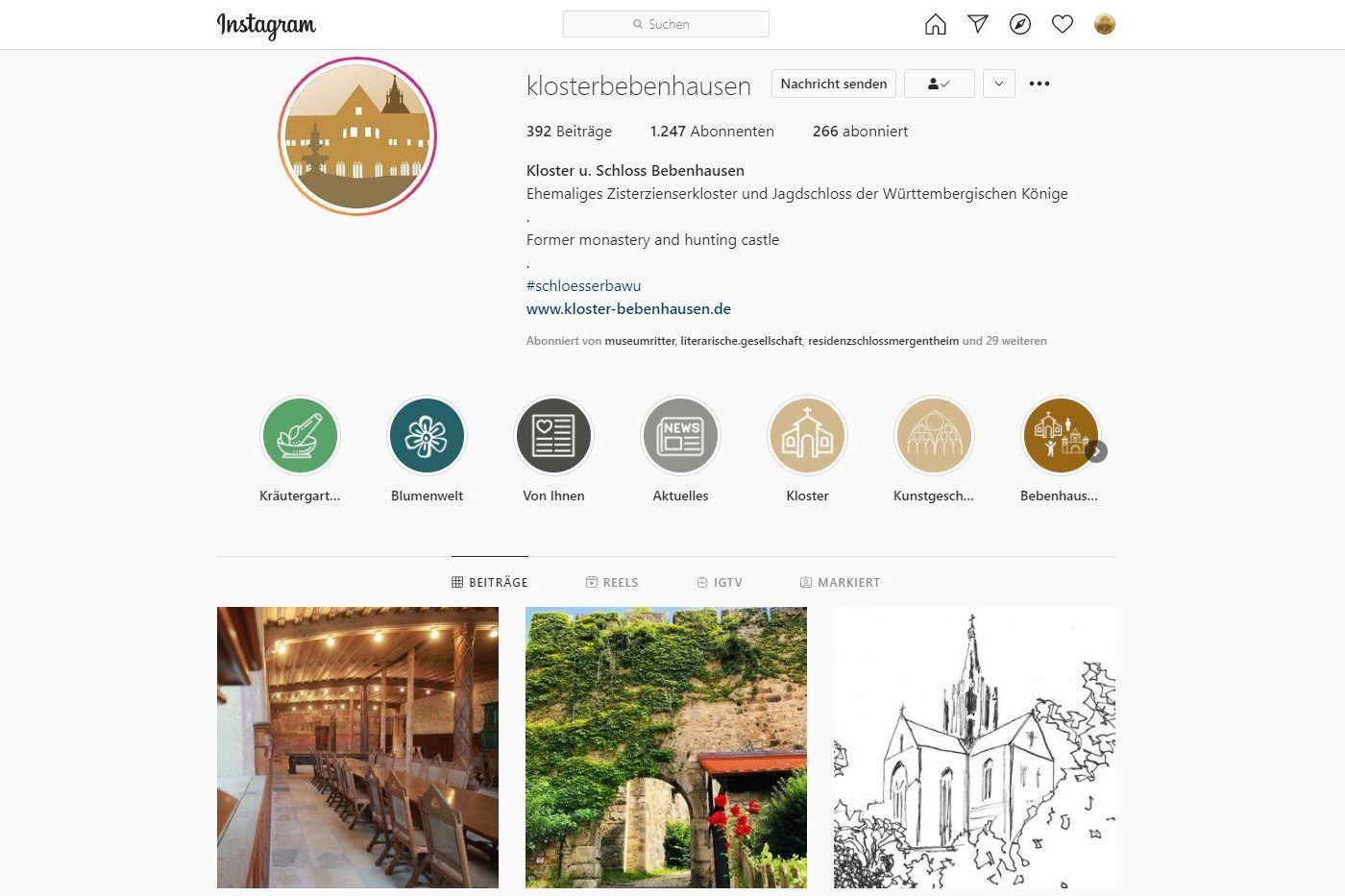 Kloster und Schloss Bebenhausen, Instagramseite