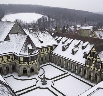 Bebenhausen Monastery with cloister, from the tower of the monastery church. Image: Staatliche Schlösser und Gärten Baden-Württemberg, Arnim Weischer