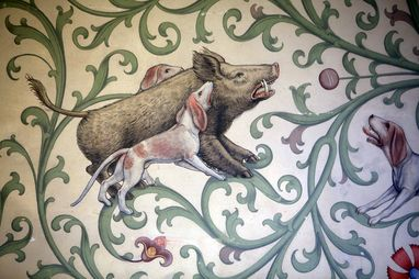 Hunt for wild boar, detail of a mural in the winter refectory of Bebenhausen Monastery. Image: Staatliche Schlösser und Gärten Baden-Württemberg, Thomas Kiehl