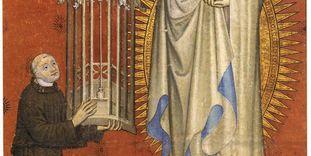 Kloster und Schloss Bebenhausen, Detail der Wandmalerei an der nördlichen Seite des Presbyteriums mit der Stifterdarstellung Abt Peters von Gomaringen