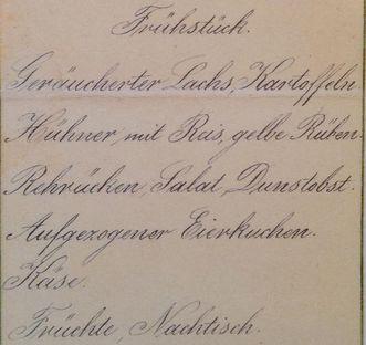 Menu from Bebenhausen Palace, breakfast, November 29, 1906. Image: Hauptstaatsarchiv Stuttgart