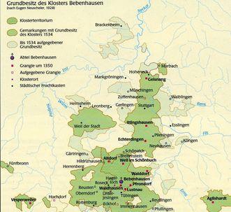 Detailansicht der Karte des Grundbesitzes von Kloster Bebenhausen; Foto: Staatliche Schlösser und Gärten Baden-Württemberg, Stephan Kohls