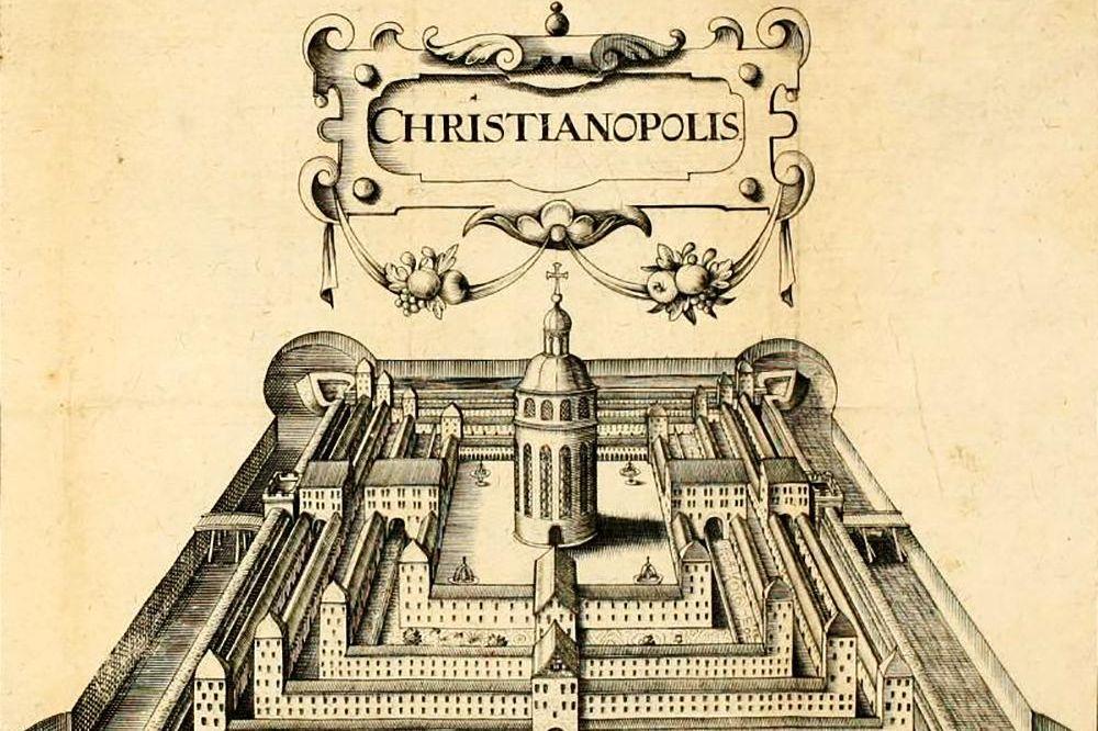 Plan der Stadt Christianopolis, Stich aus Reipublicae Christianopolitanae descriptio, 1619