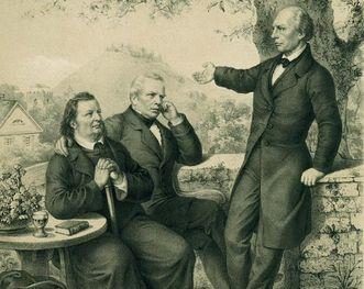 Ludwig Uhland with Justinus Kerner and Gustav Schwab, lithography by Breitschwert circa 1850. Image: Landesmedienzentrum Baden-Württemberg, Dieter Jäger